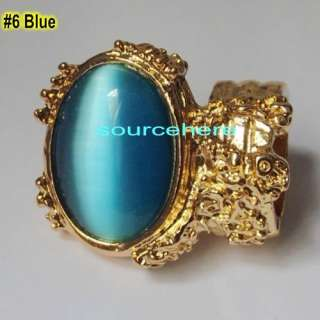 Oval Cocktail Ring Iconic Gold Tone Punk Turquoise Knuckle Rings Band