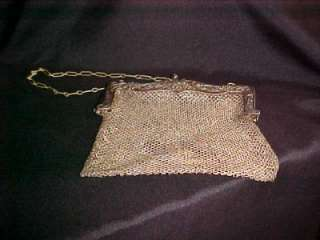 Vintage Antique German Silver Mesh Purse Handbag