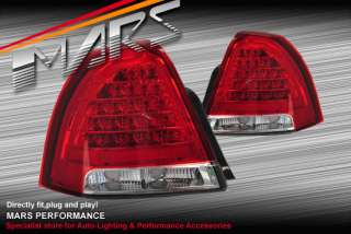 Clear Red LED Tail Lights for HOLDEN STATESMAN WM 06 11
