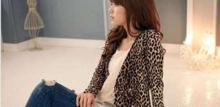 Korean Women Ladies Leopard DoubleBreaste Coat Jacket US Size 2
