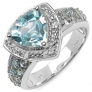 Trillion Cut Blue Topaz Rhodium Plated Sterling Silver