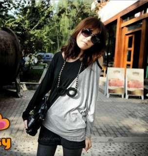 Korean Womens Crew Neck Asymmetrical Batwing T shirt Ladies Cotton Tee
