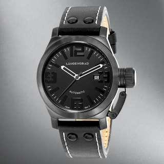 Langengrad Mens Black Leather Strap/Black Dial Watch