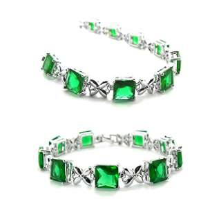 CHRISTMAS GIFT JEWELRY FASHION GREEN EMERALD WHITE GP TENNIS BRACELET