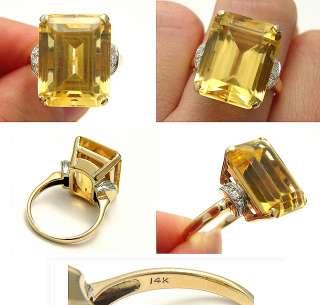 ANTIQUE ART DECO OVER 12CT CITRINE EUROPEAN CUT DIAMOND SOLID GOLD