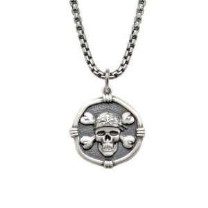 Mens Guy Harvey Pirate Skull and Crossbones Necklace
