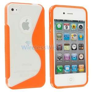 Clear Orange S Shape TPU Hard Rubber Skin Case Cover for iPhone 4S 4G