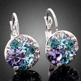 Multi Swarovski Crystal Pierced Gold GP Earrings EH584