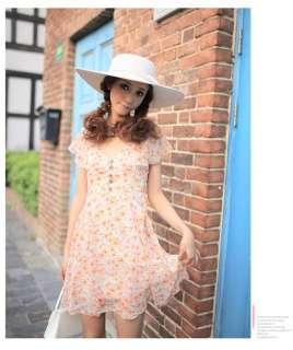 Womens Buttons Floral Chiffon Dress,9750Y,ORANGE, sz M