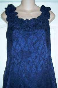 NEW MAGGIE LONDON RUFFLE NECK SLEEVLESS DRESS BLUE SIZE 12