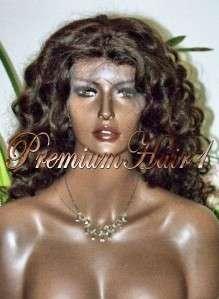 Full Lace Human Hair Indian Remi Remy 24 Curly #2 Dark Brwn Gorgious