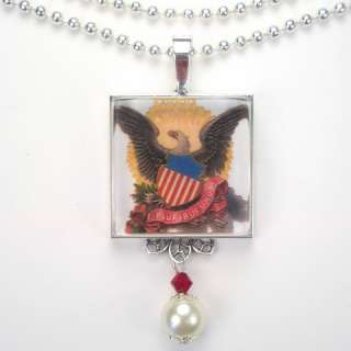 4TH OF JULY USA BALD EAGLE CREST CHARM PENDANT NECKLACE