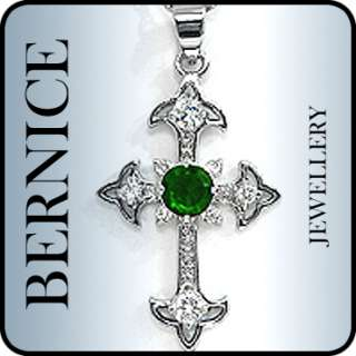 CROSS CUT GREEN EMERALD WHITE GOLD GP PENDANT NECKLACE
