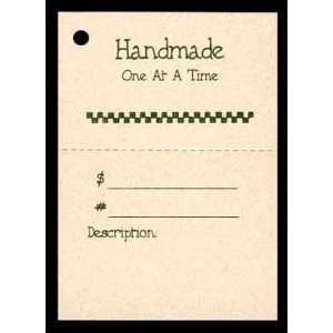 100 Craft Hang Tags say *Handmade One At A Time* & 100 Cut Strings for