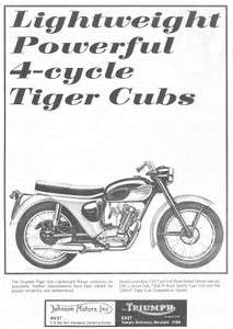 1965 Triumph T20 Tiger Cub Road Motorcycle Original Ad