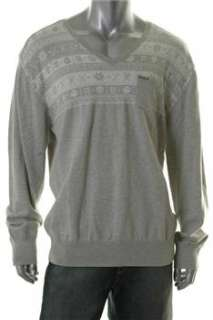 Marc Ecko NEW Mens Pullover Sweater Gray Ribbed Trim XXL