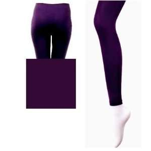 Winter Warm Seamless Thick Fleece Lined Purple Leggings Tights Women