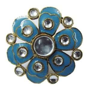 Iba Indian Fashion Adjustable Gold Tone Ring Sky Blue Enamel Floral