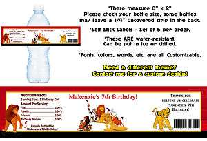 The Lion King Movie Printed Water Bottle Labels ~ Birthday Party