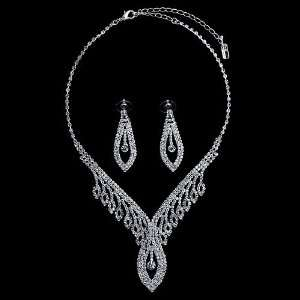 Silver Tone Rhinestone Crystal Bridal Necklace Earrings 2