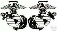 USMC Marine Corps 2 EGA Decals Black L&R 5x 5.75