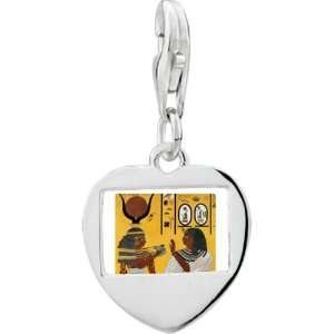 Silver Gold Plated Egyptian Kings Of Thebe Photo Heart Frame Charm