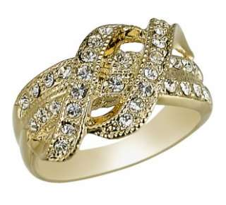 Cubic Zirconia Gold Plated Double Ribbon Ring Size 6