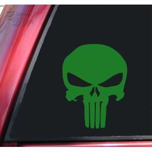 Punisher 2K Skull Vinyl Decal Sticker   Green Automotive