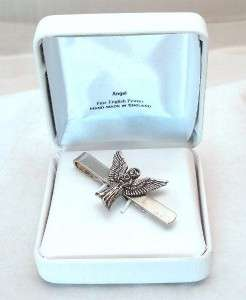 Angel with Wings Spread Tie Clip (slide) in Fine English Pewter, Gift