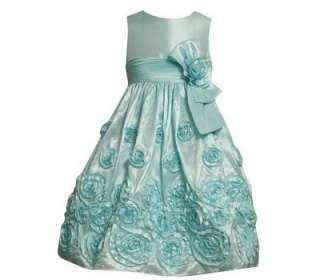 Bonnie Jean Girls Aqua Taffeta Rose Wedding Easter Spring Dress 8