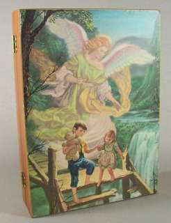 Guardian Angel Children On Bridge Vintage Wooden Box