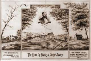 Jesse James Funeral Services House Lithograph Reproduct