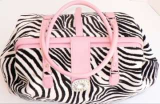 Pink Leather Crystal Studded Buckle Doctor Carry On Bag Tote