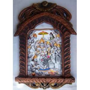 Lord Sita & Ram taking blessing from all god poster in