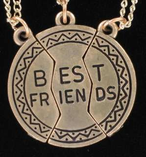 Pendant Bff Necklace Set 3 Part Best Friends Gold Tone