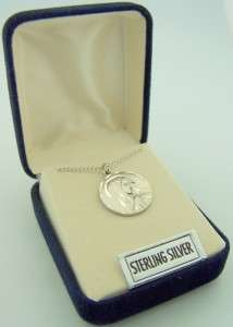 Sterling Silver Mother Mary Necklace Chain Medal In Box