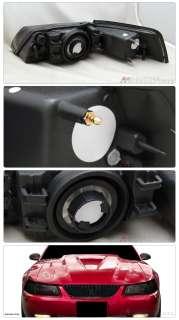 99 04 Ford Mustang Smoke Lens OEM Style Crystal Headlights Pair