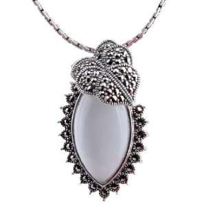 White Opal Necklace Made of Thai Silver Pendant Jewelry for Girls