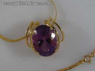 Beautiful 14k Gold Gem Amethyst Pendant & Necklace