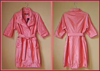 Rickie Freeman Teri Jon Coral Mango 100% Silk Trench coat / dress 6 S
