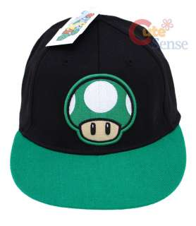 Nintendo Super Mario Green Mushroom Baseball Cap, Flex Fit Hat