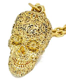 Disney Couture Pirates Gold Skull Necklace