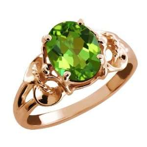 2.30 Ct Oval Envy Green Mystic Quartz 18k Rose Gold Ring