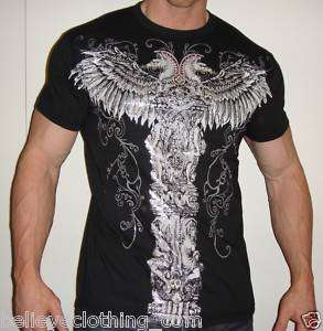 STATUE OF FAITH MENS BL T SHIRT MUSCLE RHINESTONES MMA