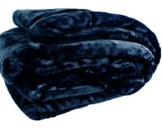Solid Plush Super Soft Faux Mink Blanket Queen Size New   Black Navy