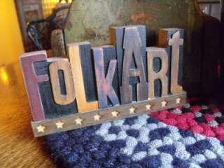 Adorable Primitive Printing Block Wood Folk Art Sign Stand