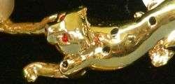 Beautiful NEW Goldtone LEOPARD Cat w/Stones PIN 121.2