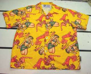 WEAR Pin Up Girl Dice Buttons PIMP SEXY BOWLING HAWAIIAN SHIRT Mens XL