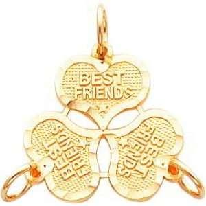 14K Gold 3 Pc Best Friend Heart Breakable Charm Jewelry