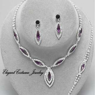 Prom Formal Jewelry Bridal Bridesmaid Purple Crystal Bracelet Necklace